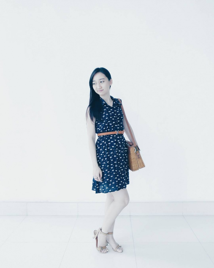 navy blue animal print dress