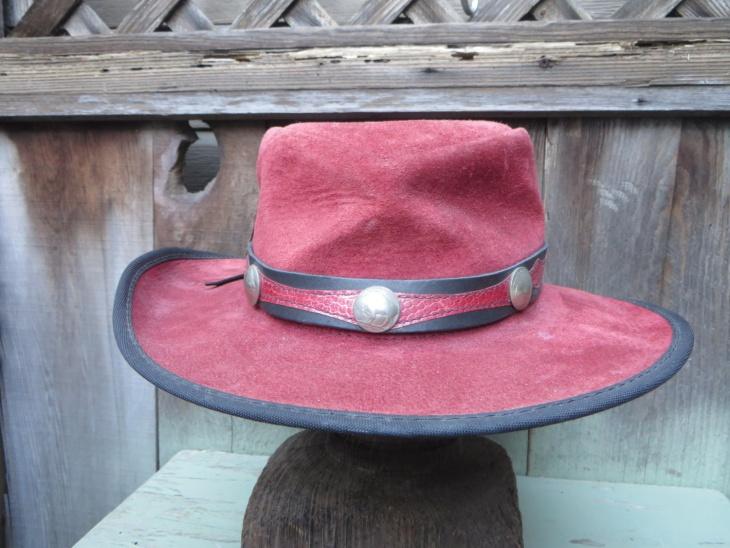 leather gambler hat