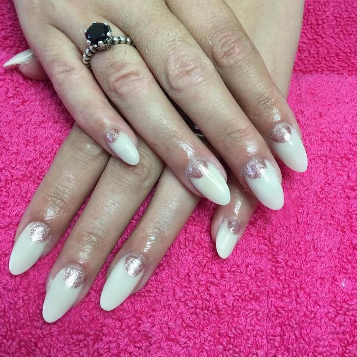 glitter half moon nails
