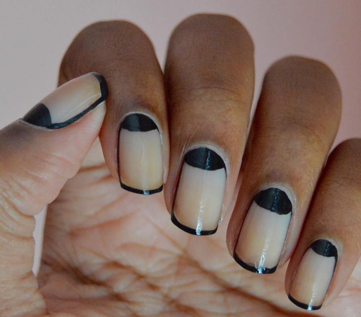 half moon with tip nail art