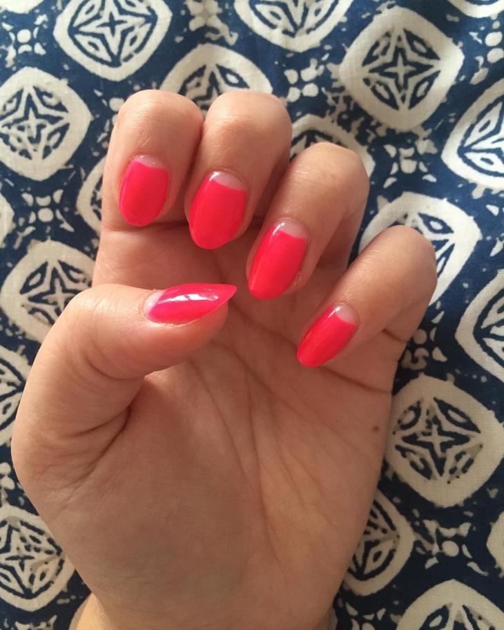 almond half moon nails