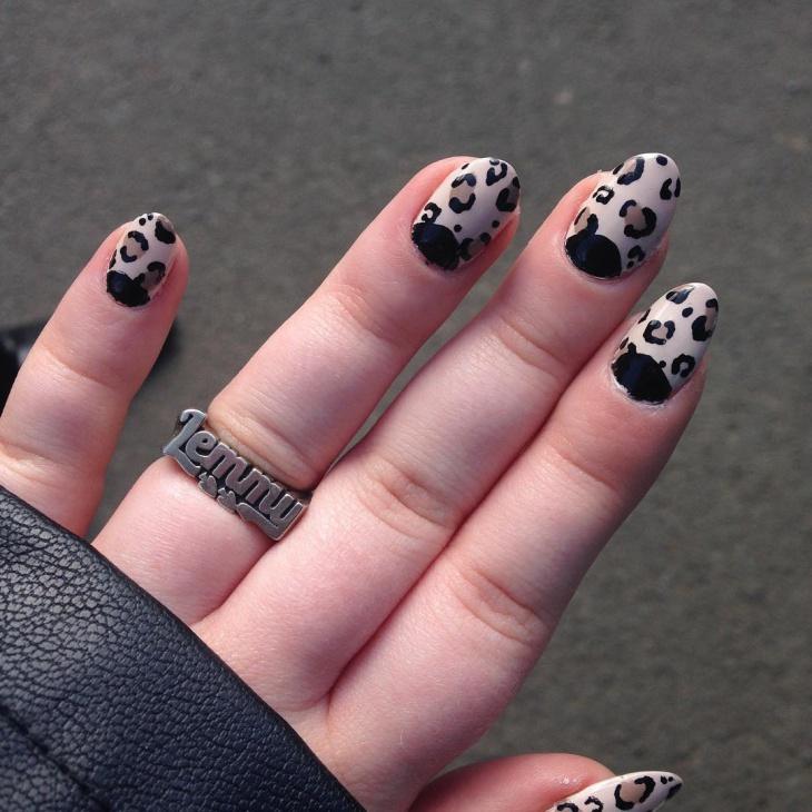 leopard half moon nails