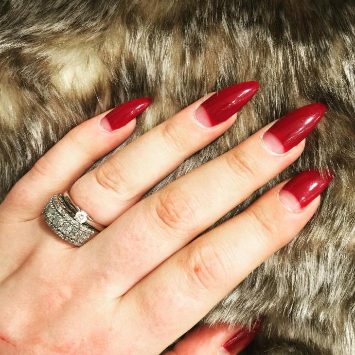 half moon stiletto nails
