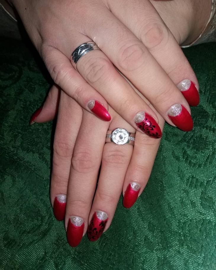 half moon red nail art