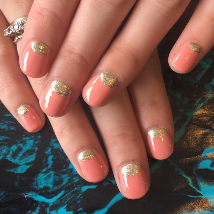 half moon short nail design