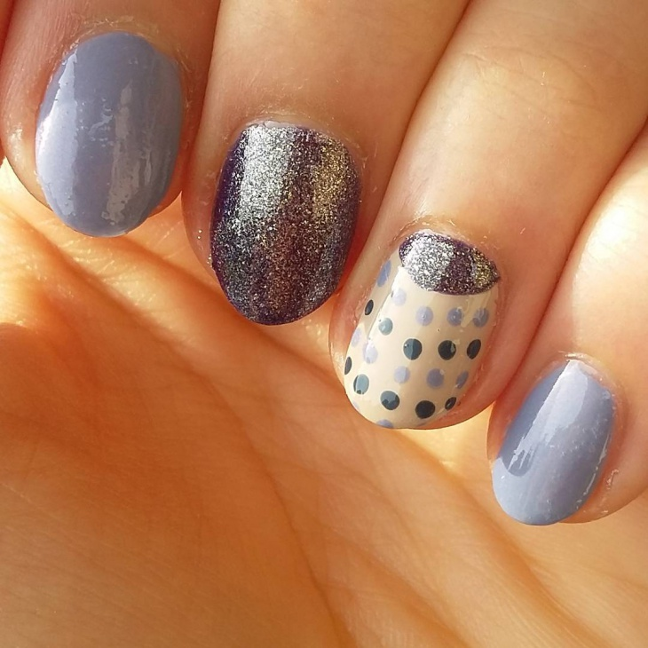 dotted half moon nails
