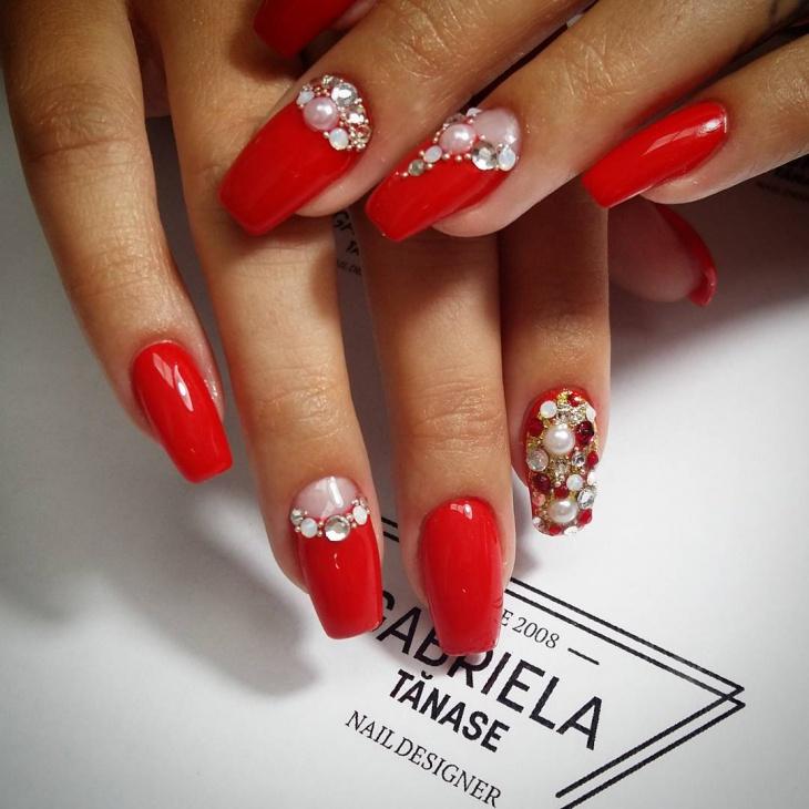 3d half moon nail art