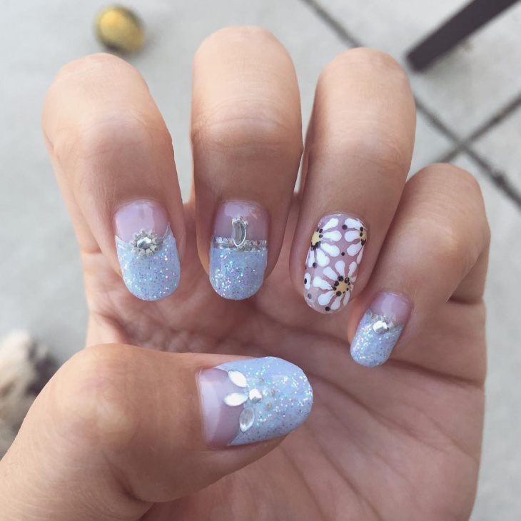 Floral Half Moon Nail Design - 21+ Half Moon Nail Art Designs, Ideas Design Trends - Premium PSD
