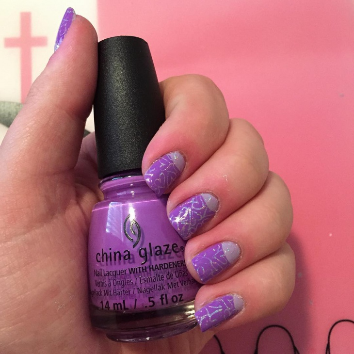 purple half moon nail art