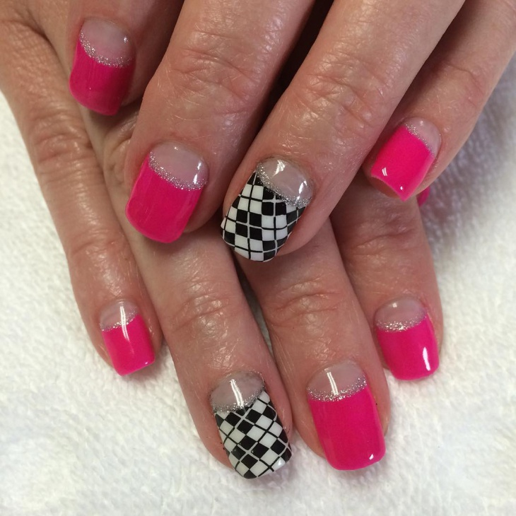 pink and glitter half moon nails