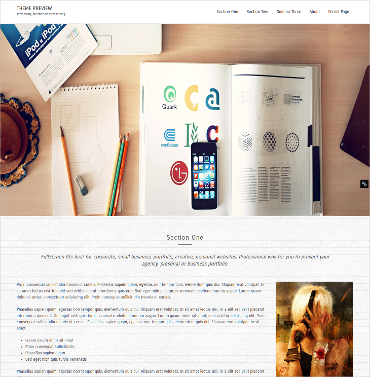 fullscreen lite wordpress theme