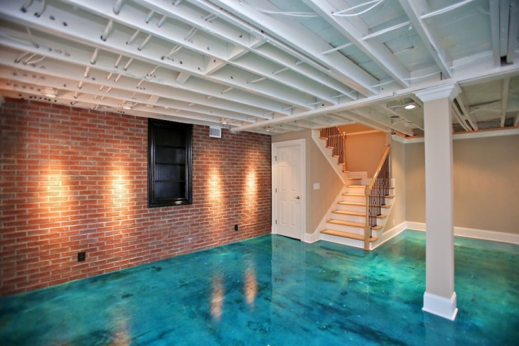 sea blue basement flooring