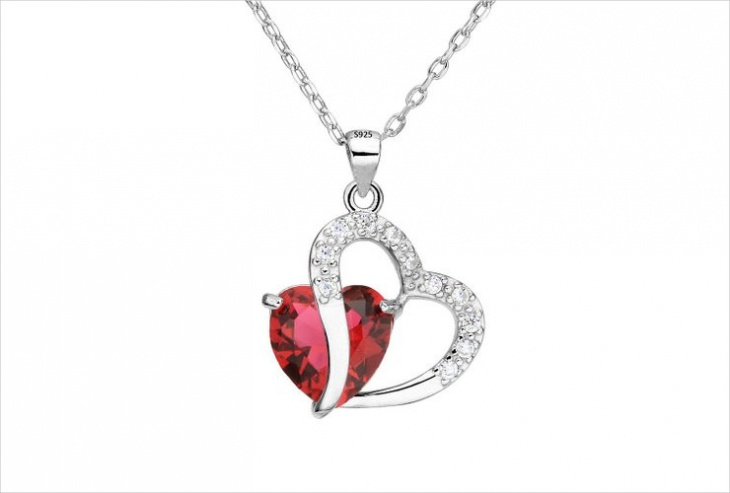 sterling silver ruby pendant necklace