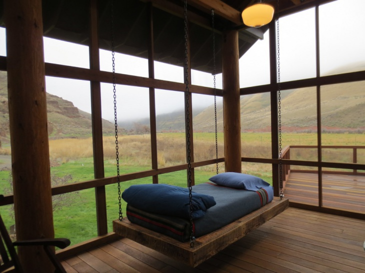 wooden hanging bed