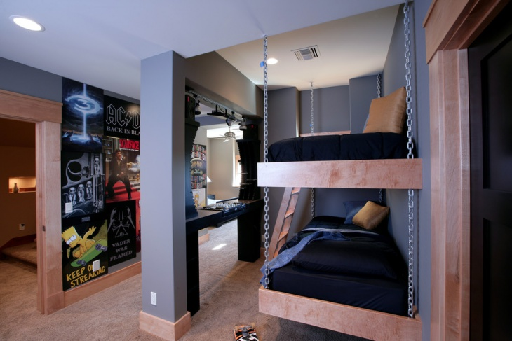 dark hanging bed idea