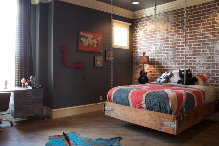 industrial hanging bed room design