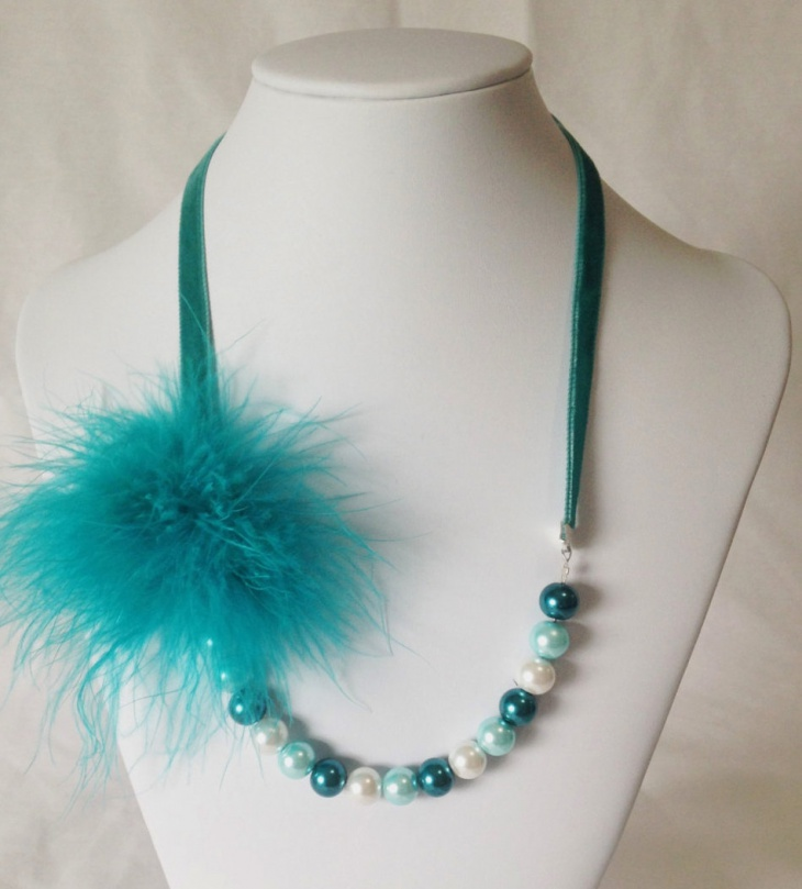 turquoise feather pearl necklace