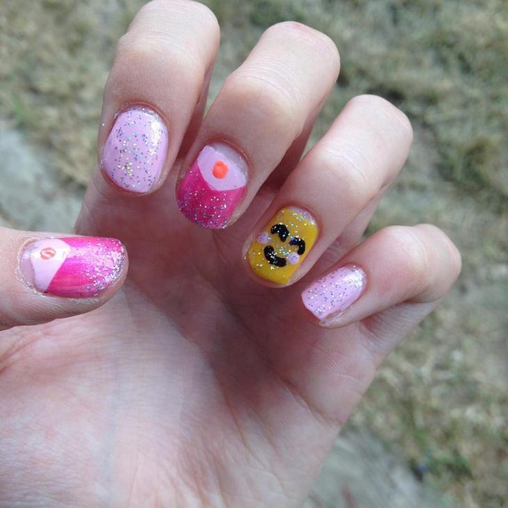 glitter emoji nail design