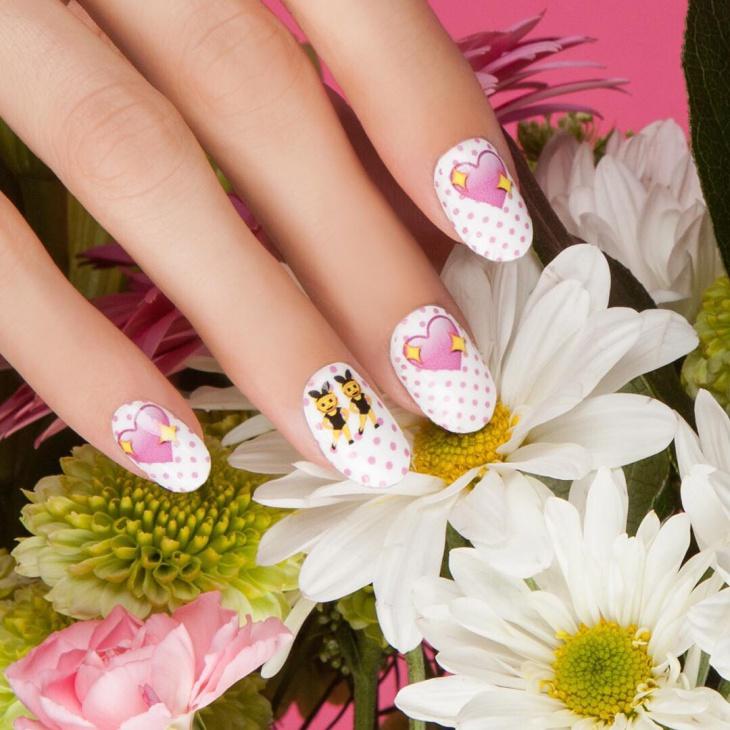 pink emoji nail design