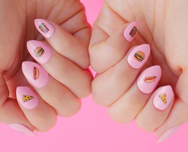 junk food emoji nails
