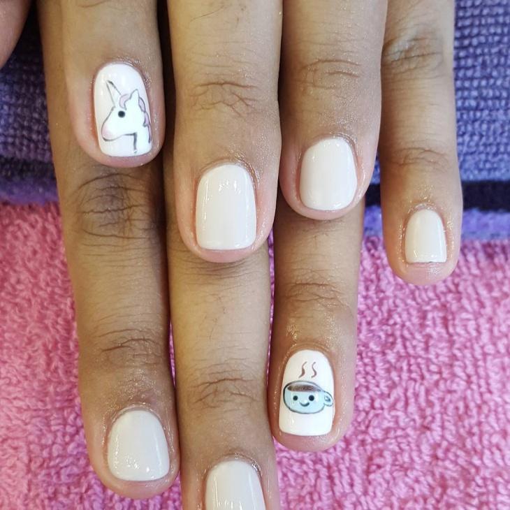 unicorn emoji nail design
