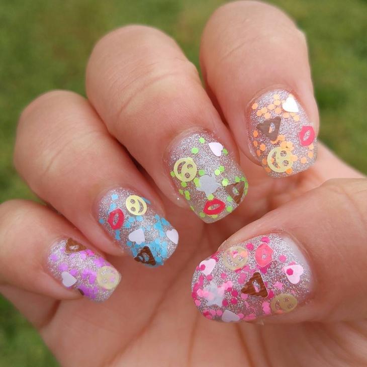 emoji bling nails idea