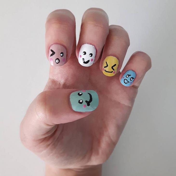 emoji nail art for short nails
