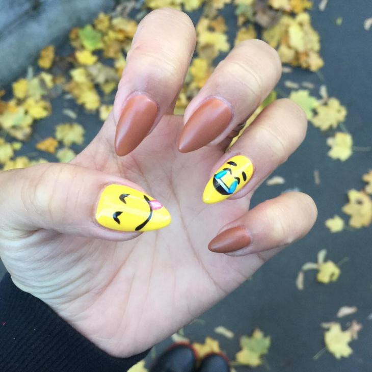 emoji nail art for long nails