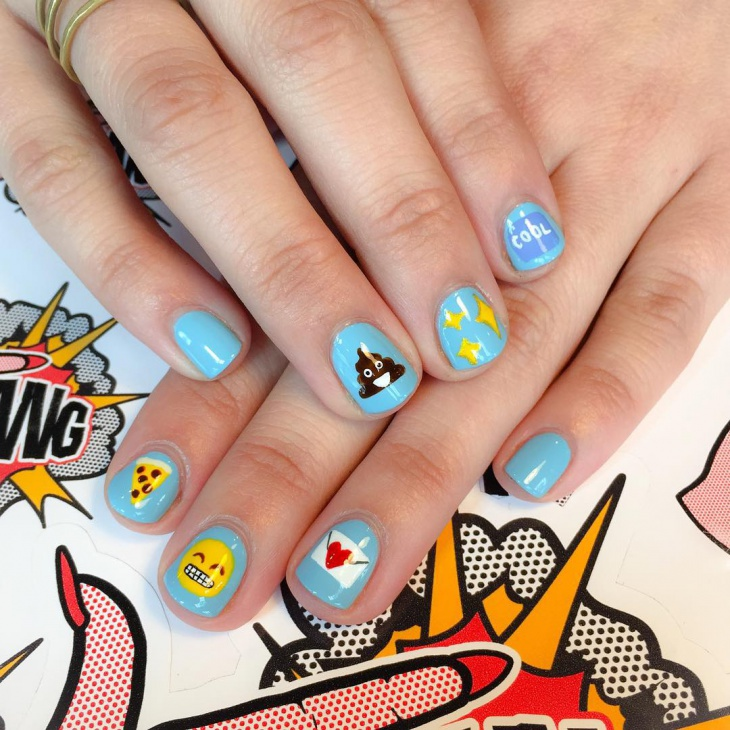 Hand Painted Nail Art Designs: 21+ Emoji Nail Art Designs, Ideas