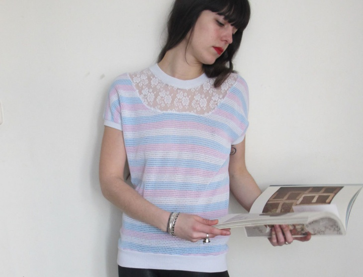 striped t shirt with lace