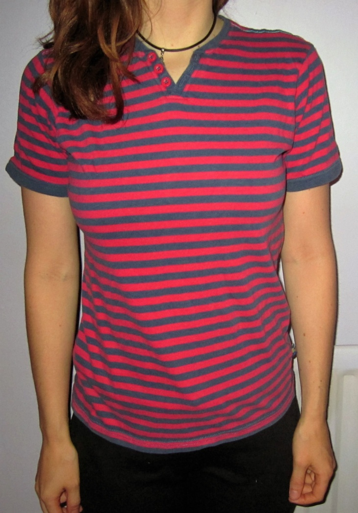 grunge blue and red stripe t shirt
