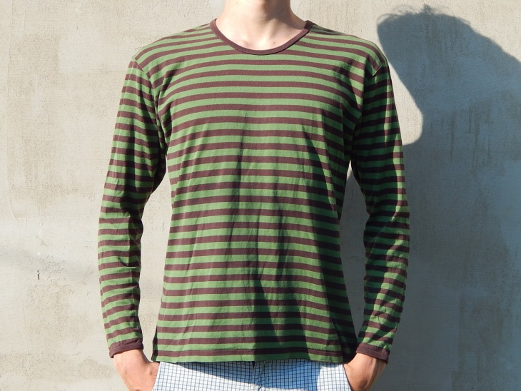 green and brown striped t shirt