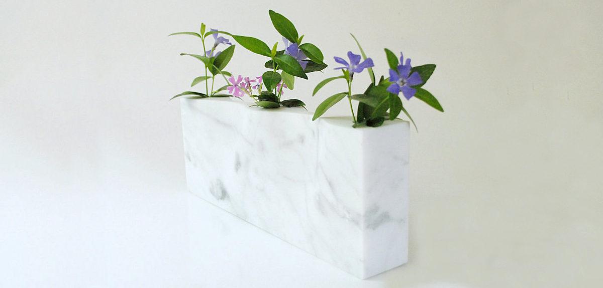 minimalistic white marble vase