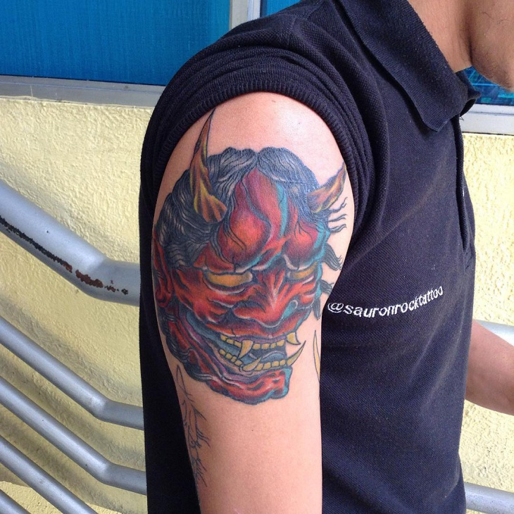 hannya mask tattoo on shoulder