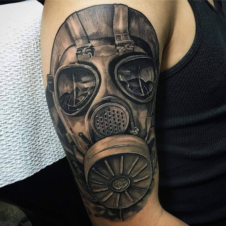 gas mask tattoo design