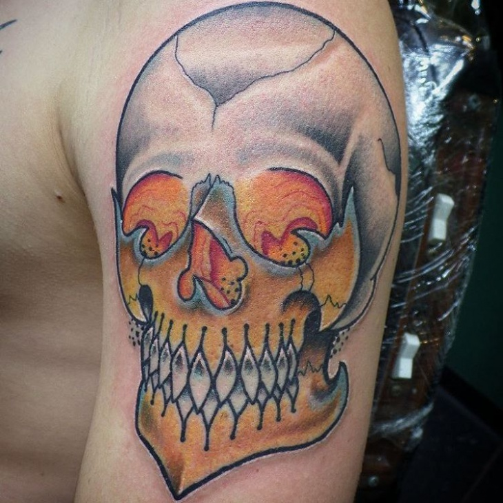 skull mask tattoo idea