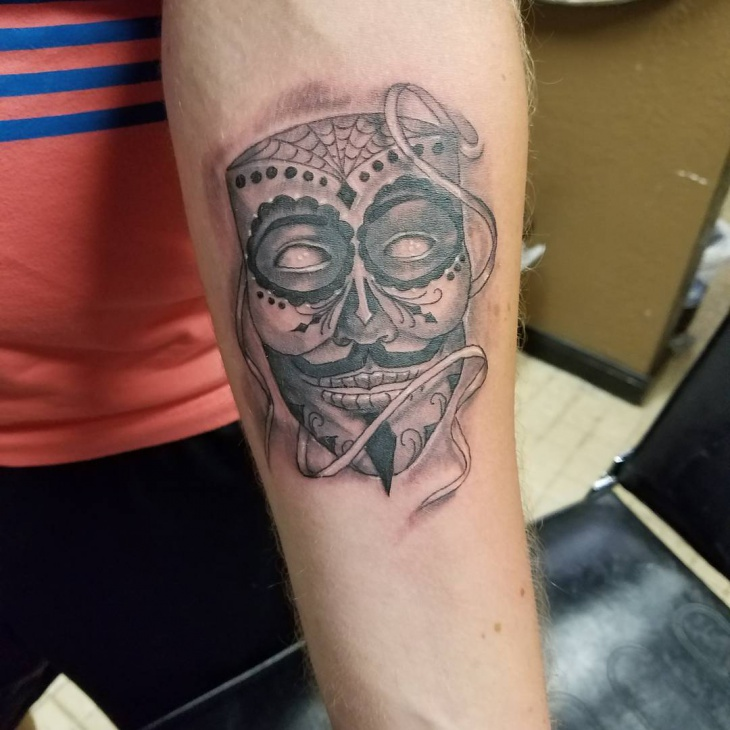 custom mask tattoo design