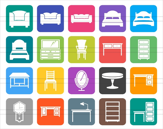 flat round corner furniture icons