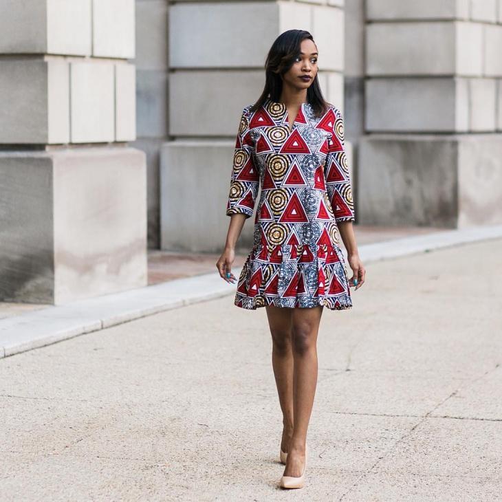 african print flounce dress