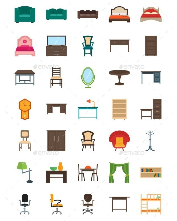 furniture flat multicolor icons