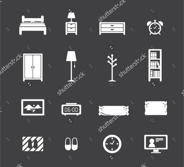 bedroom furniture icon set