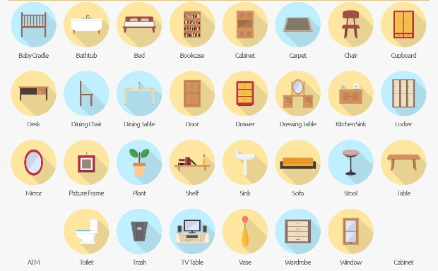 interior and furniture icon set