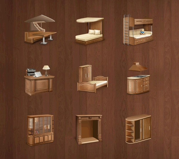 wooden furniture icons