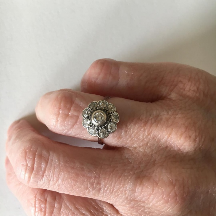 daisy cluster engagement ring