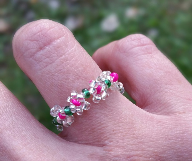 Cute Pink and White Daisy Ring