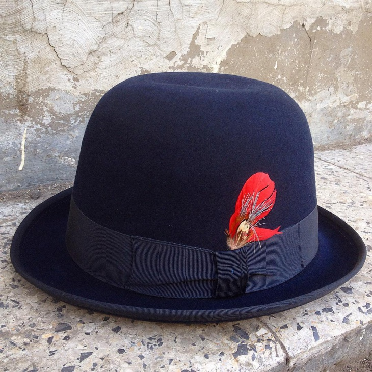 feather leather hat