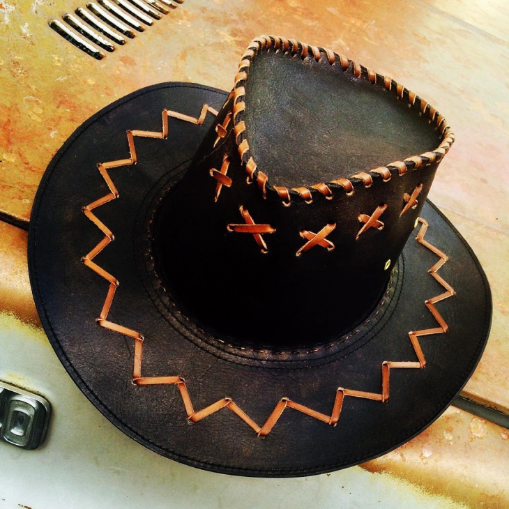 stitched leather hat