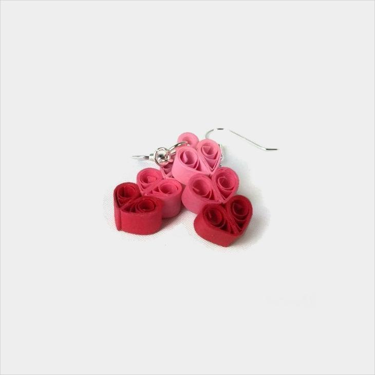 quilling heart earrings