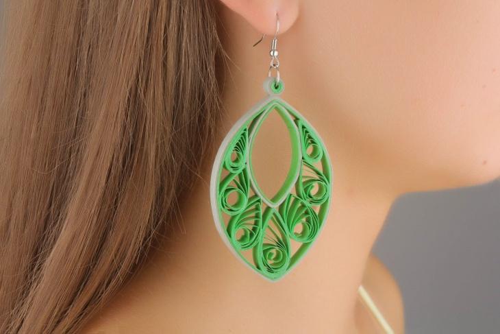 quilling leaf earrings