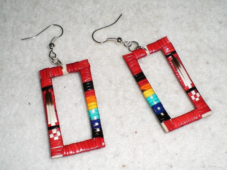 Quillied Box Red Earrings